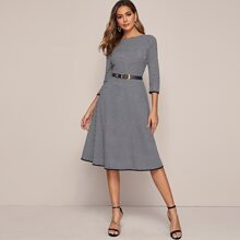 Binding Detail Houndstooth Fit & Flare Dress Without Belt