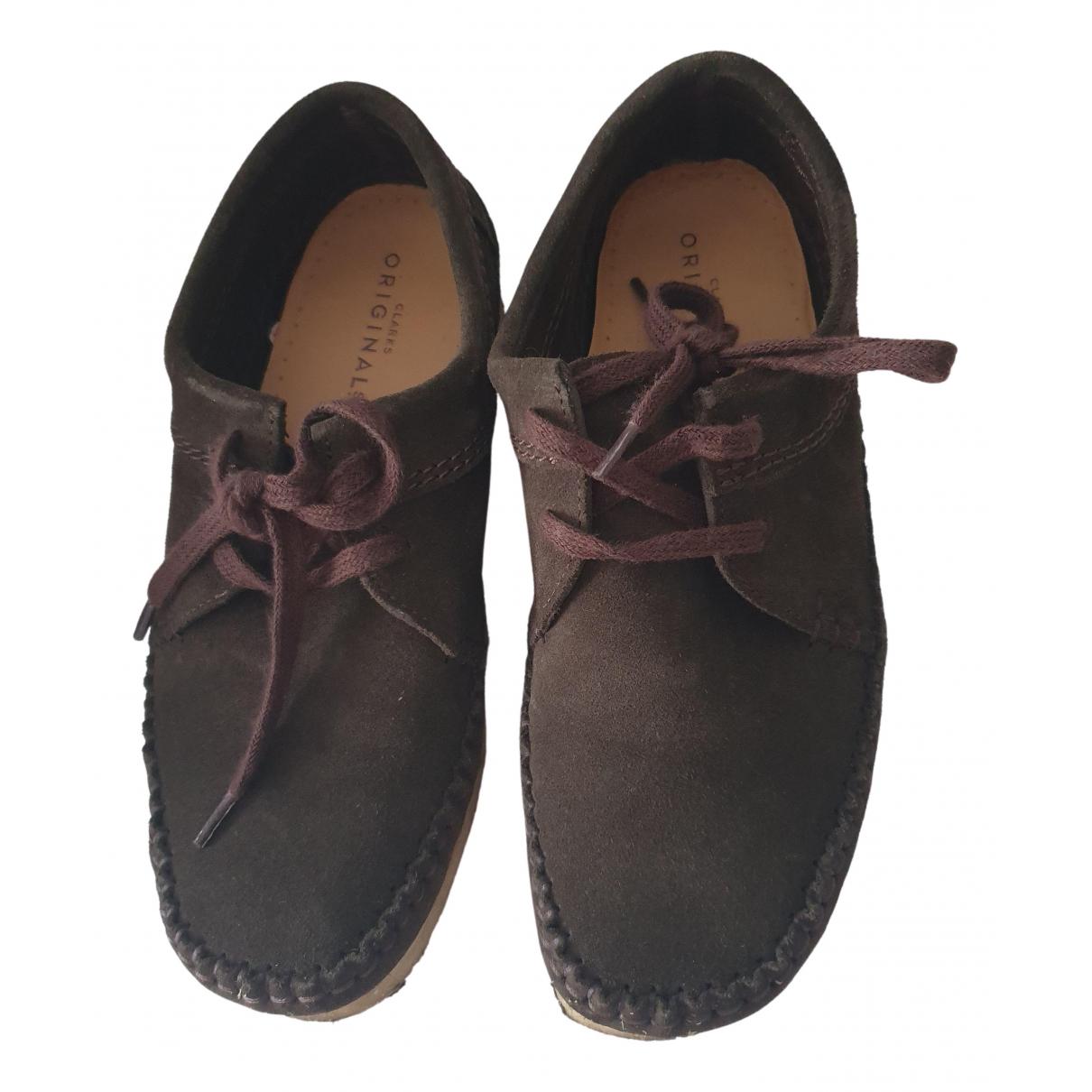 Clarks N Khaki Leather Flats for Women 38 EU