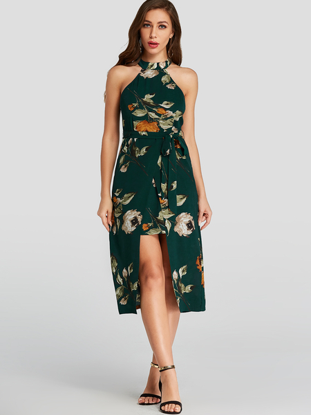 YOINS Green Random Floral Print Halter Slit Hem Midi Dress