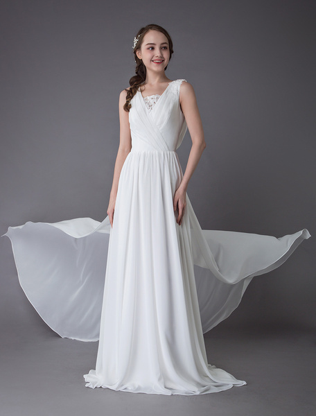 Milanoo Beach Wedding Dresses Chiffon Ivory V Neck Cowl Back Summer Beach Bridal Gowns