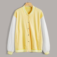 Button Front Striped Cuff & Neck Color Block Jacket