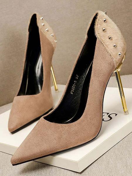 Milanoo Zapatos de tacon alto del dedo del pie en punta tacon de aguja Remaches elegante de cuero de gamuza Studed Bombas