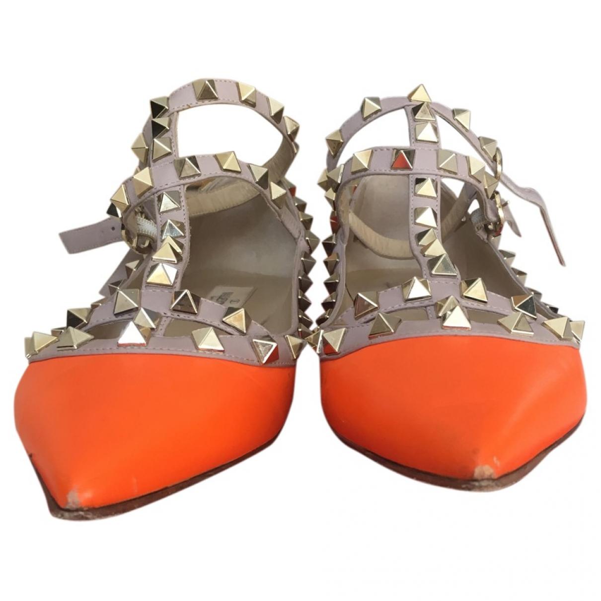 Valentino Garavani Rockstud Orange Leather Ballet flats for Women 37.5 EU