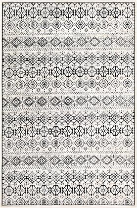 Dantel DTL-2325 53 x 73 Rectangle Global Rug in Black  Silver Gray
