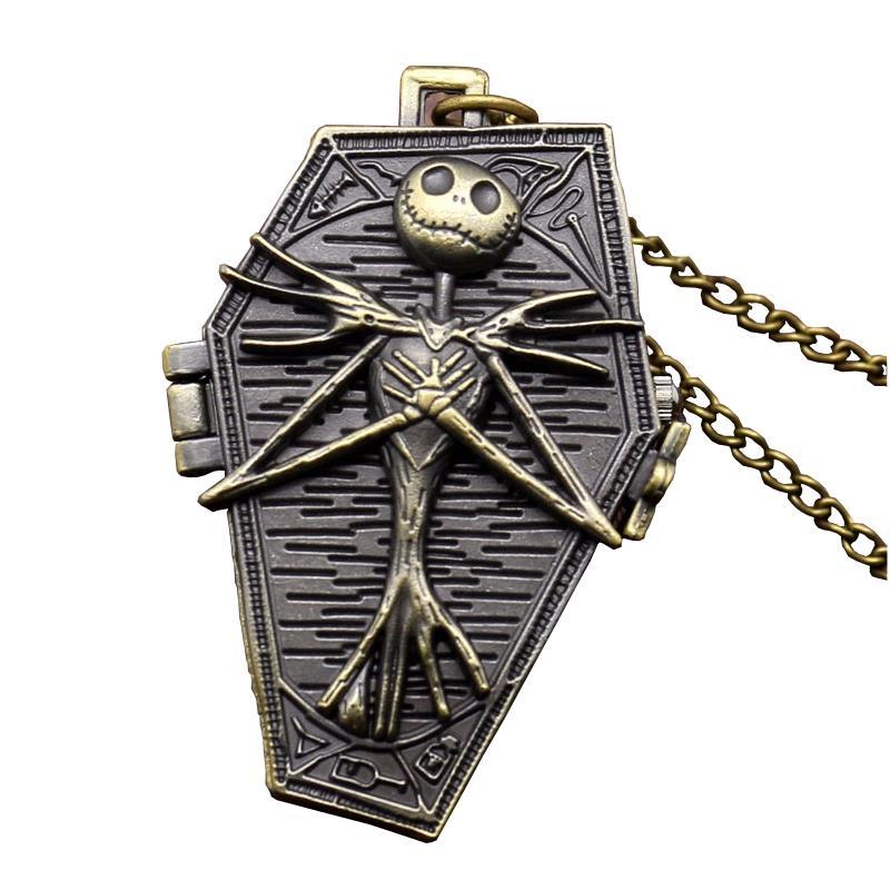 Vintage Punk Skull Nightmare Quartz Pocket Watch Antique Box Urn Necklace Unique Necklaces