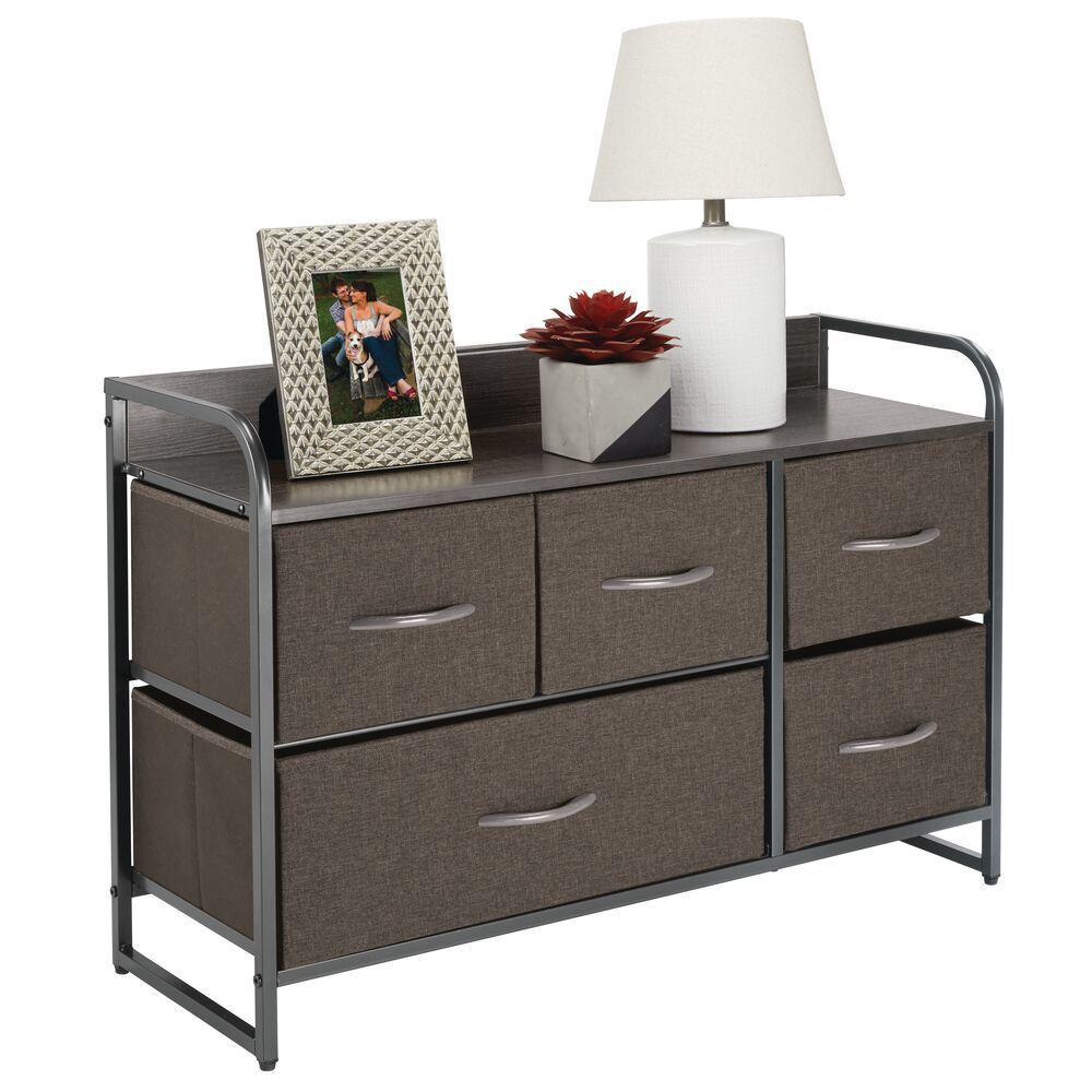 5 Drawer Wide Storage Dresser Organizer with Wood Shelf in Coffee/Espresso Brown, 11.4