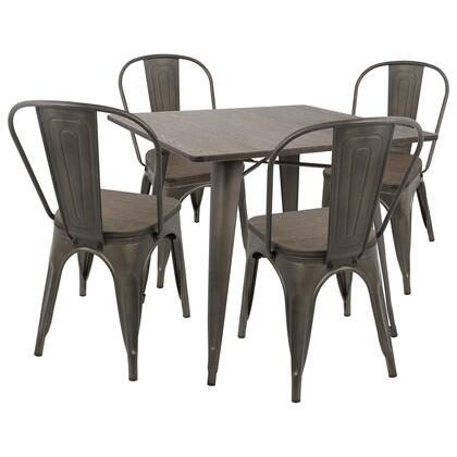 DS-OR5 AN+E Oregon 5pc Industrial Farmhouse Dining Set in Antique and