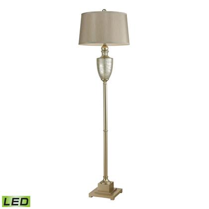 113-1139-LED Elmira Antique Mercury Glass LED Floor Lamp With Silver Accents  In
