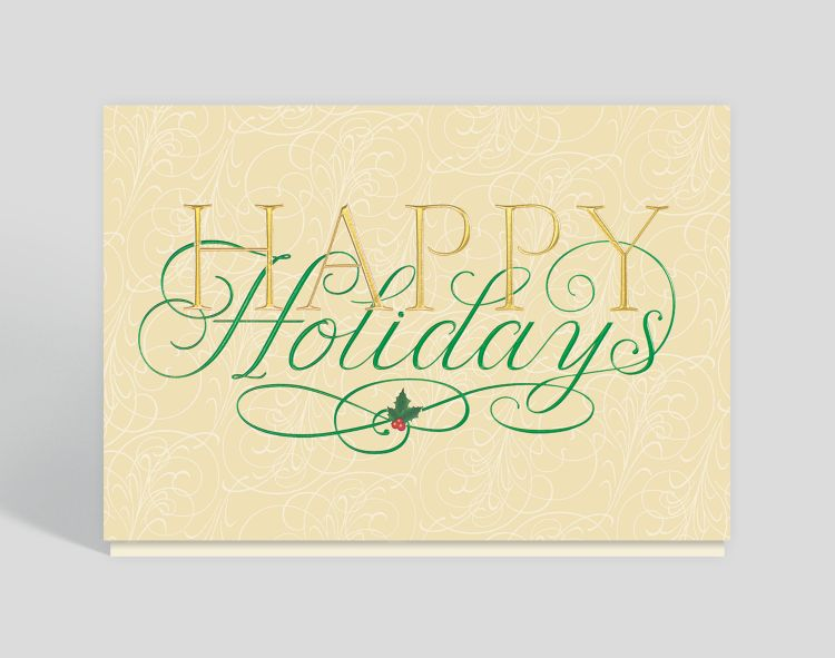 Gold Border on Cream Merry Christmas Traditional - Horizontal Card - Greeting Cards