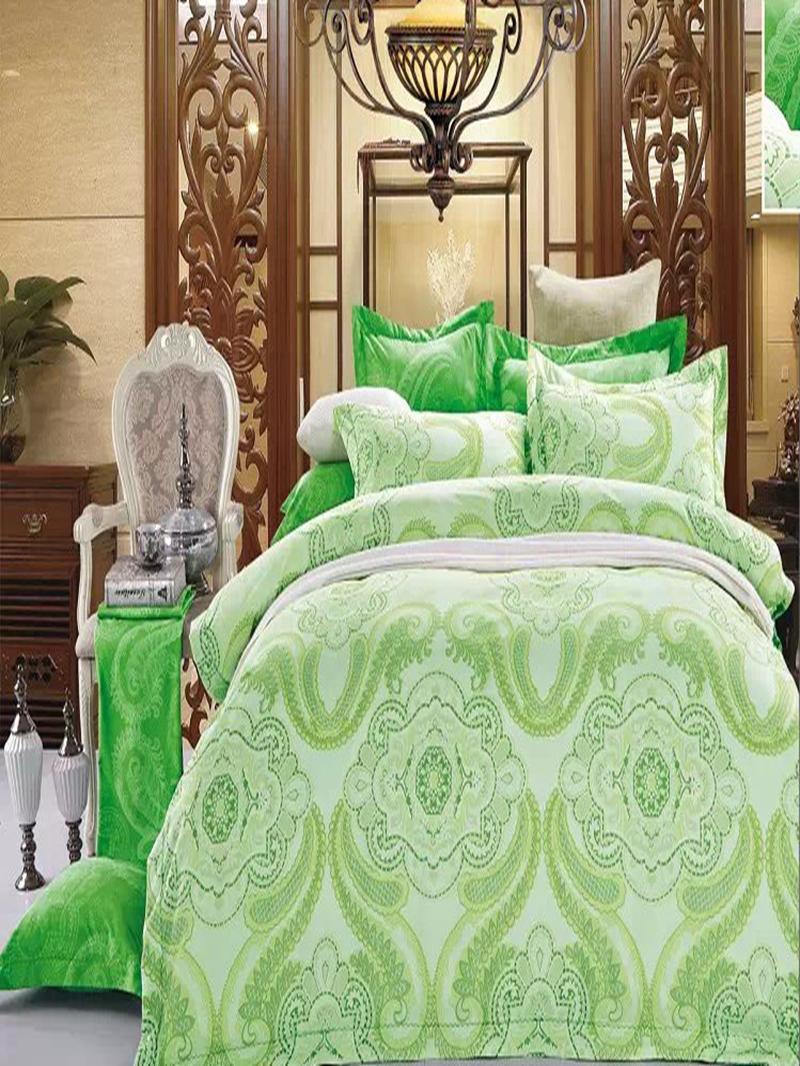 Vivilinen Green Paisley Flower Print 4-Piece Polyester Duvet Cover Sets