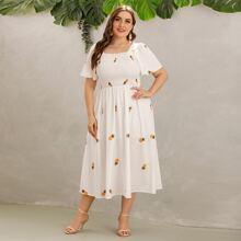 Kleid mit Band hinten und Ananas Muster