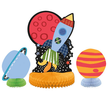 Outer Space Centerpiece Decorations, 3ct - Assorted For Birthday Party