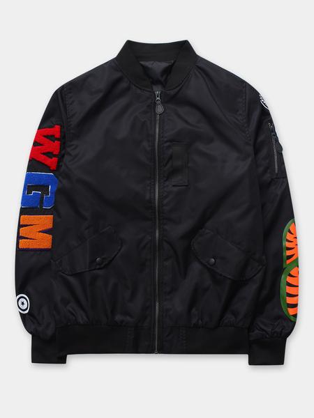 Yoins Black Men's Zipper Up Embroidery Flight Bomber Jackets