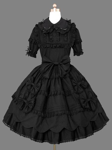 Milanoo Gothic Lolita Casual Black Dress Short Sleeve Cotton Blend Lolita Dress