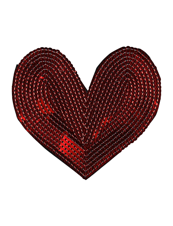 Kostuemzubehor Aufnaeher Herz mit Pailletten rot 2-tlg.