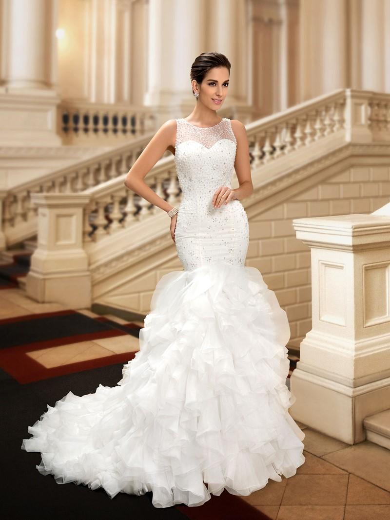 Ericdress Beading Ruffles Mermaid Wedding Dress