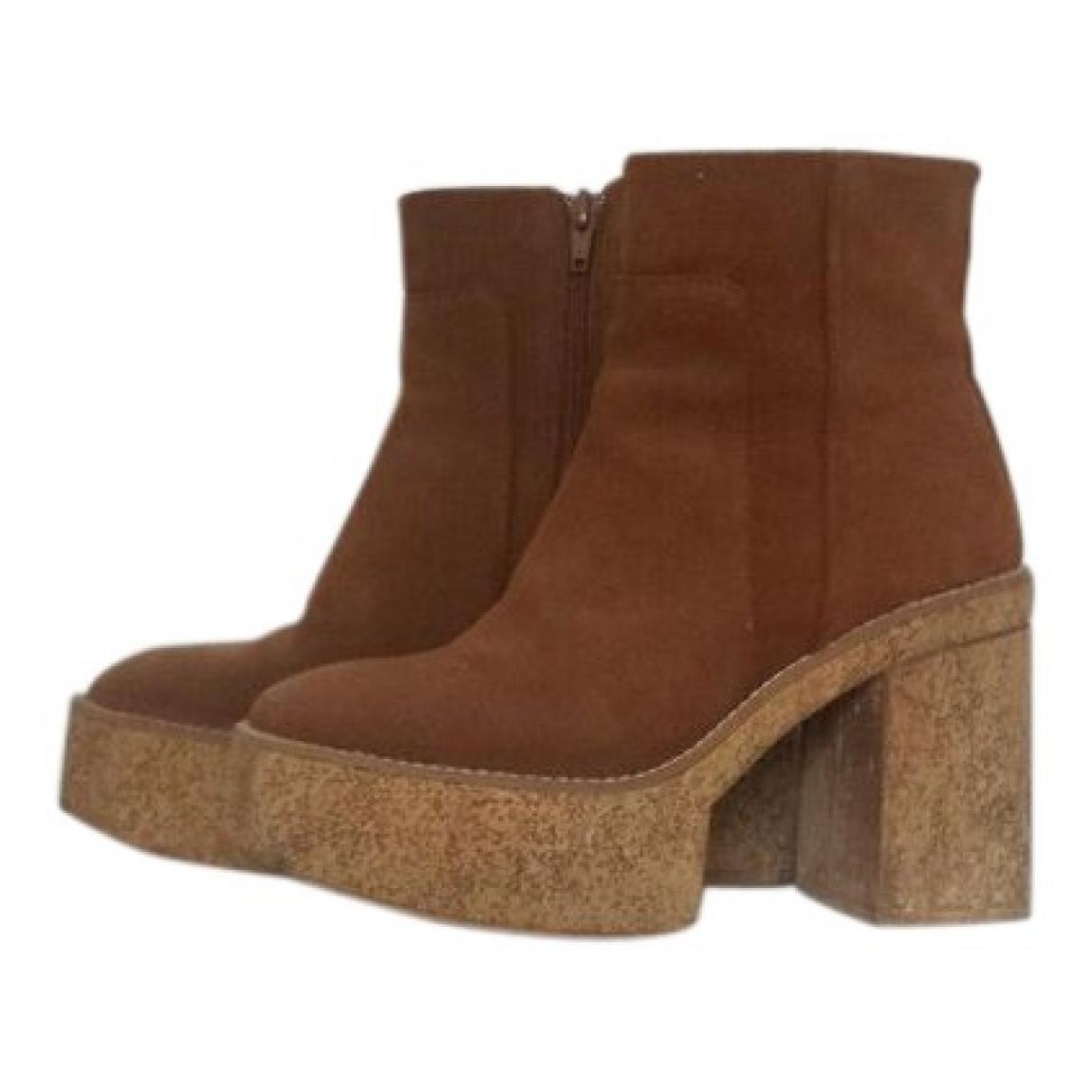 Zara - Boots   pour femme en suede - camel