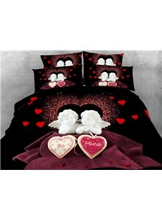 3D Cupid and Heart Printed Cotton 4-Piece Bedding Sets/Duvet Covers