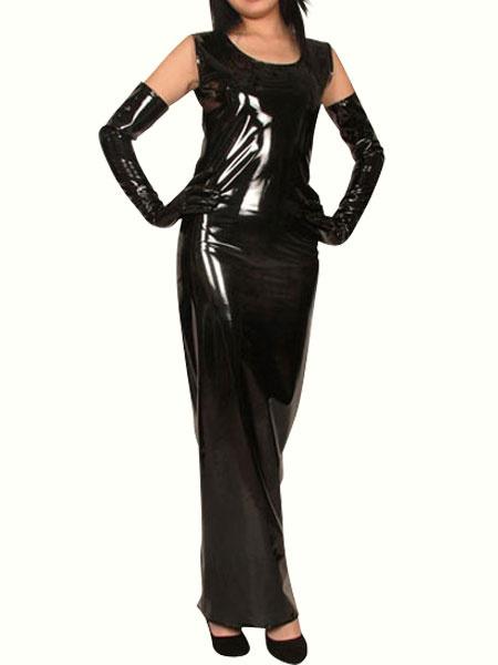 Milanoo Disfraz Halloween Vestido de PVC negro  Halloween
