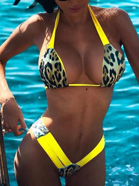 Milanoo String Bikini Swimsuit Print Summer Swimming Suits