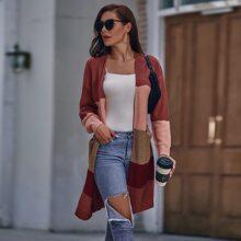 Strickjacke mit Cut And Sew und zwei Taschen