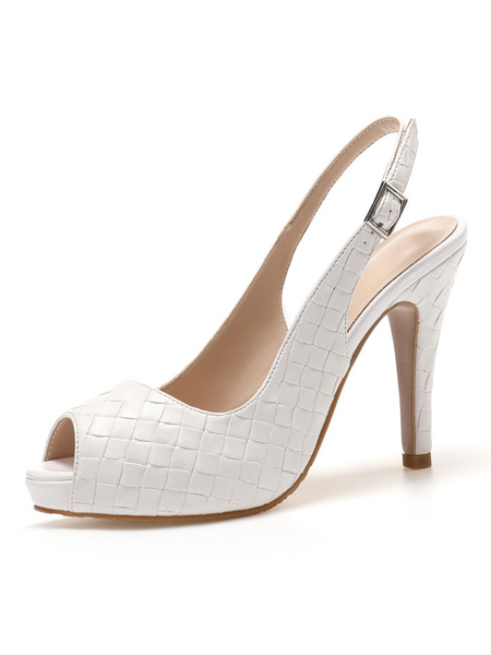 Milanoo High Heel Sandals Womens Peep Toe Slingback Stiletto Heel Sandals