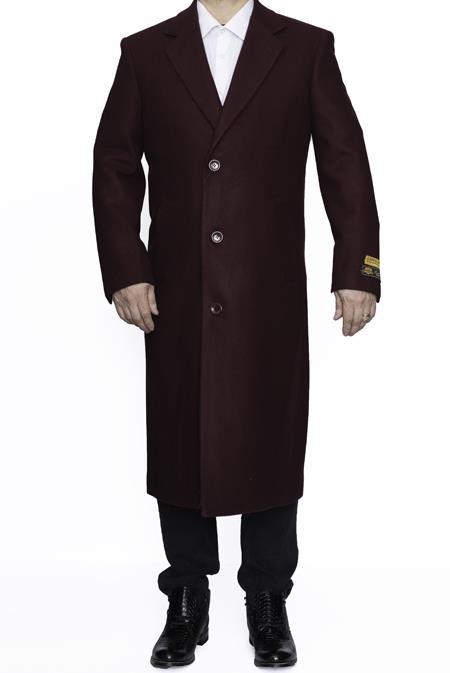 Mens Length Wool Dress Top&Overcoat Burgundy Alberto Nardoni Brand