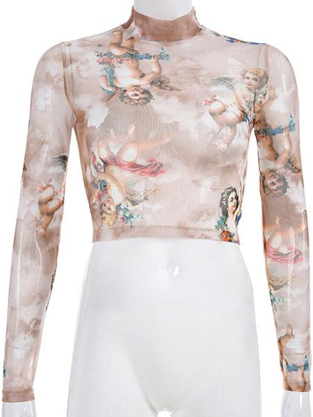 Milanoo Mujeres Crop Top Light Blue Sky High Collar mangas largas Casual Angel Print Sheer Tops
