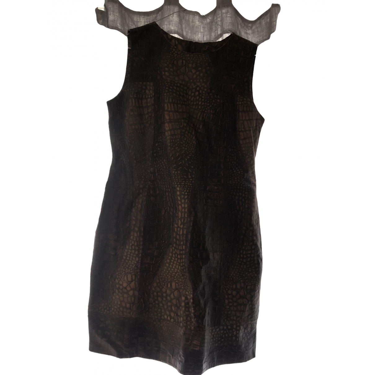 Non Signe / Unsigned \N Kleid in  Braun Leder