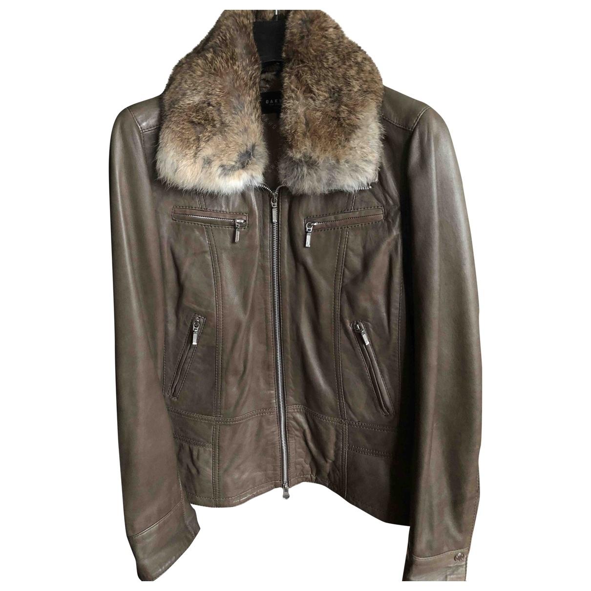 Oakwood \N Khaki Leather jacket for Women 40 FR