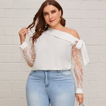 Plus Foldover Asymmetrical Neck Dobby Mesh Sleeve Top