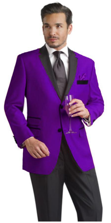 Purple Two Button Notch Party Suit and Tuxedo and Blazer Black Lapel