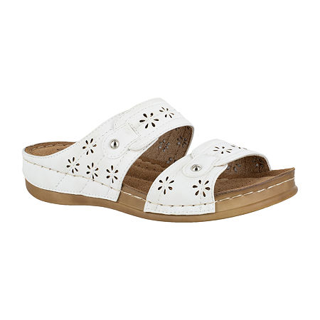 Easy Street Womens Slide Sandals, 6 1/2 Medium, White