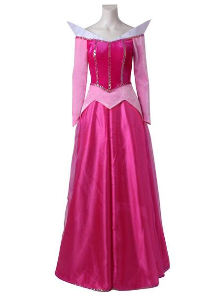 Milanoo Disney Cartoon Sleeping Beauty Princess Aurora Pink Formal Dress Cosplay Costume