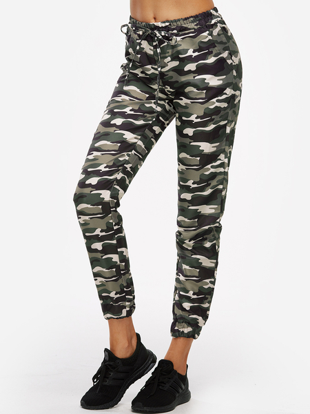 Yoins Active Camouflage Pattern High Waisted Sports Pants in Green