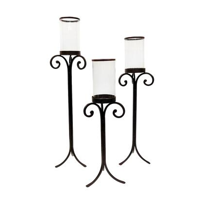Bryce Collection 561429 3-Piece Floor Hurricane Candle Holders with Scrolled Metal Accents in