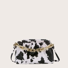 Cow Pattern Chain Satchel Bag