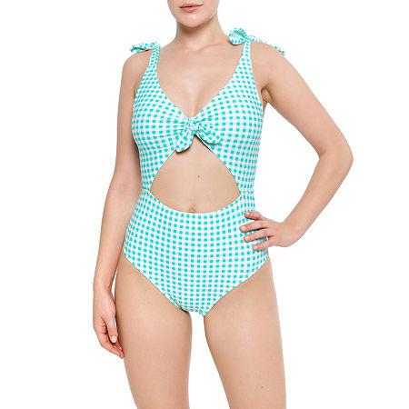Arizona Checked One Piece Swimsuit Juniors, Small , Blue
