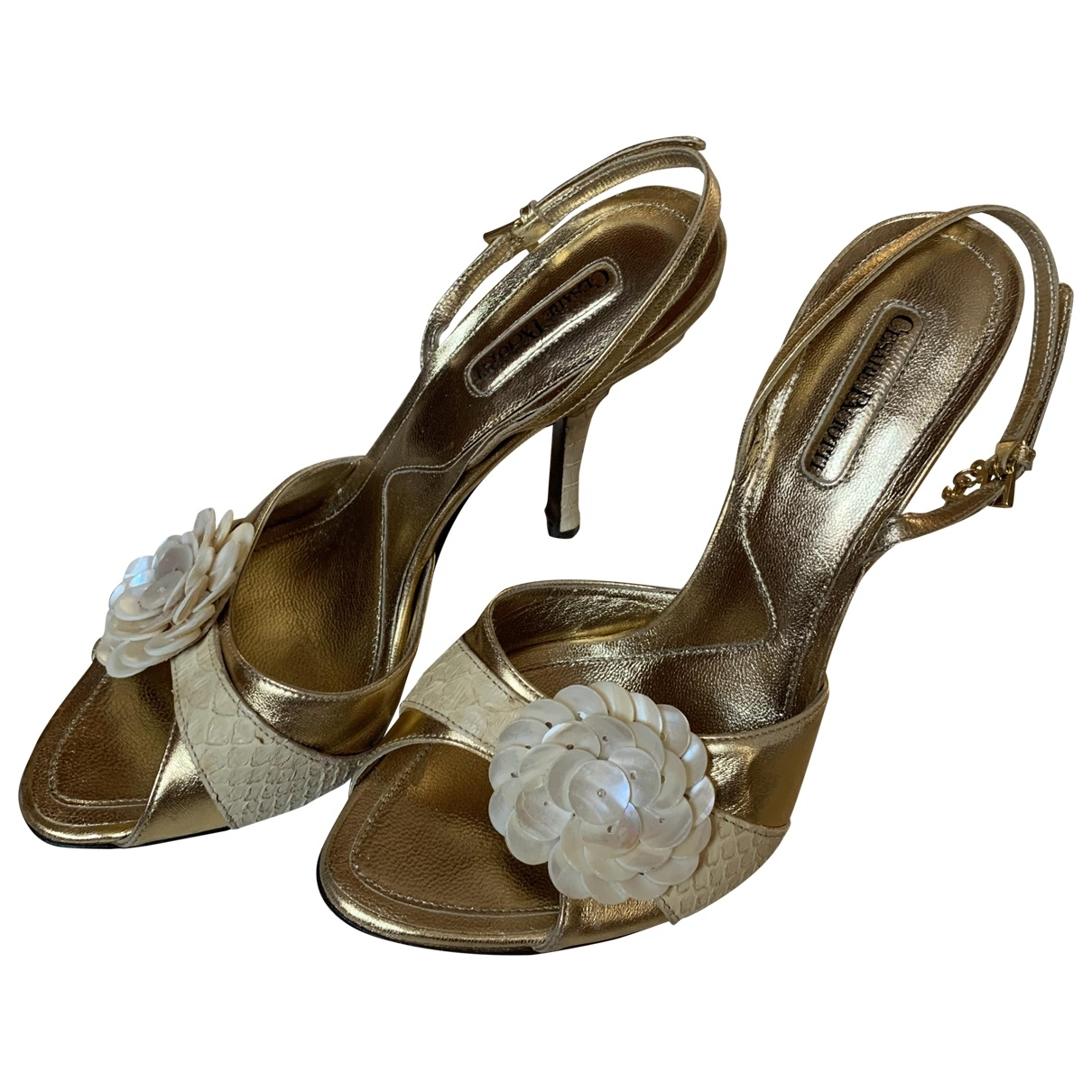 Cesare Paciotti \N Gold Leather Sandals for Women 40 EU