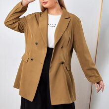 Plus Double-breasted Lapel Neck Longline Blazer