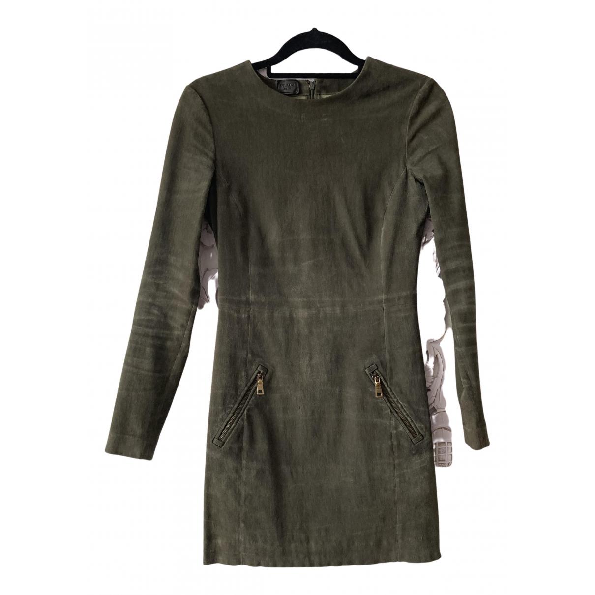Prada N Khaki Suede dress for Women 42 IT
