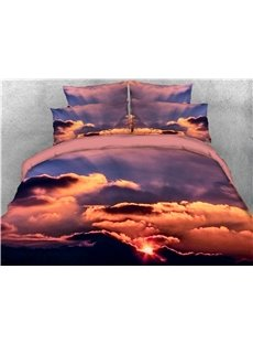 Sunset Sky Cloud Printed 4-Piece 3D Bedding Sets/Duvet Covers