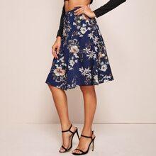 Floral Print Tie Waist A-line Skirt