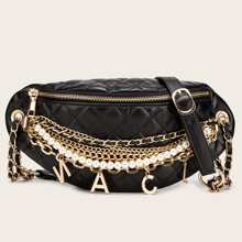 Metal Letter Charm Chain Decor Quilted Fanny Pack