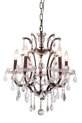 1138D18RI/RC 1138 Elena Collection Pendant Lamp D: 18in H: 22in Lt: 5 Rustic Intent Finish Royal Cut Crystal
