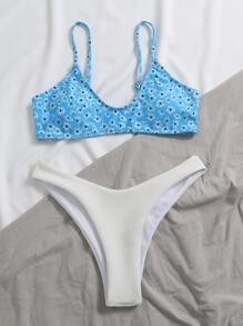 Ditsy Floral Textured High Leg Bikini Swimsuit