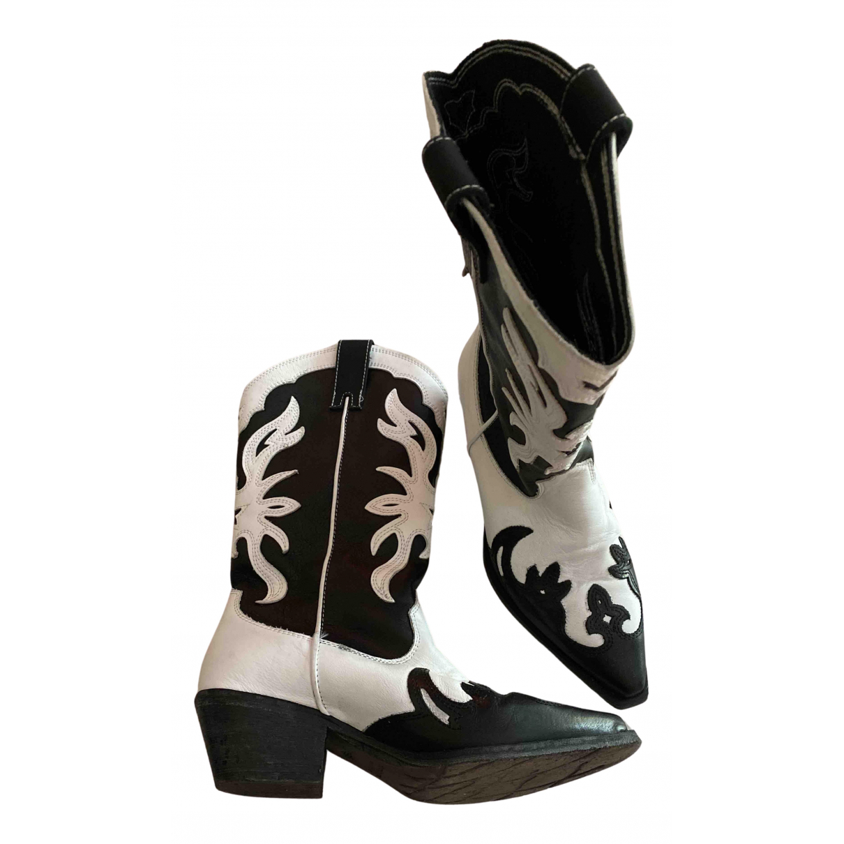 Non Signé / Unsigned N Black Leather Ankle boots for Women 39 IT