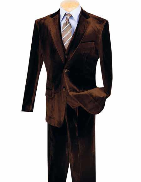 Mens Single Breasted 3 Piece Notch Lapel 2 Button Velvet Vested Suits