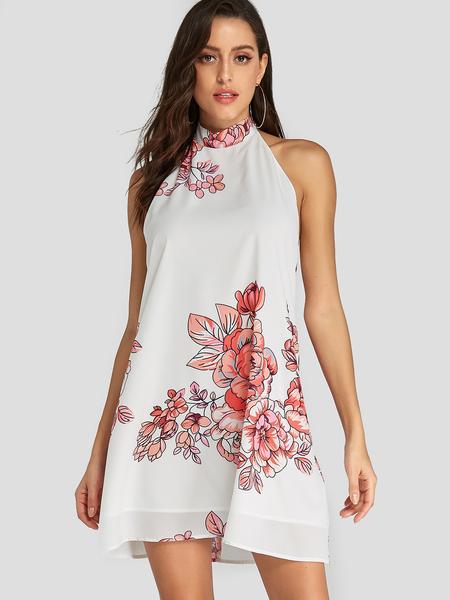 Yoins White Random Floral Print Halter Design Backless Dress