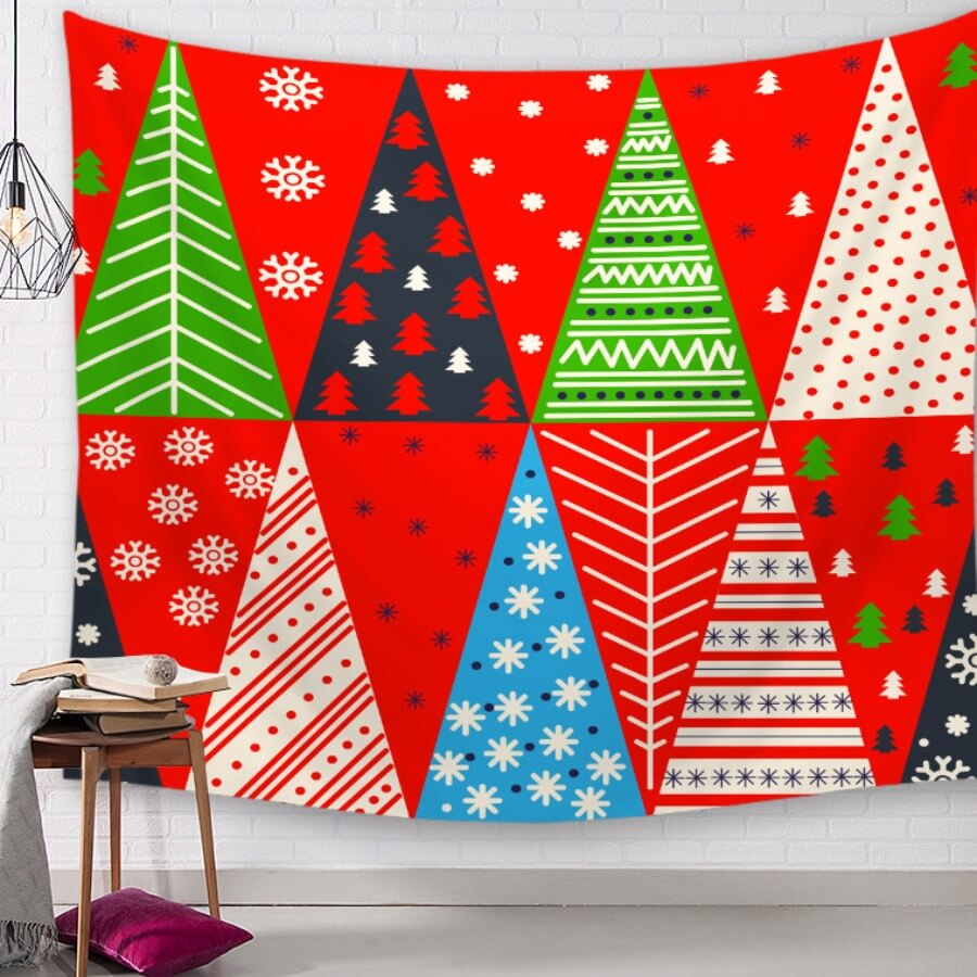 LW Lovely Christmas Day Print Red Decorative Wall Cloth